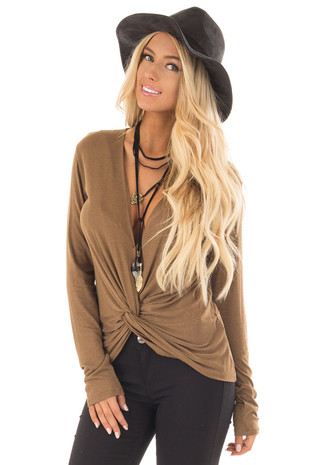 Dusty Olive Deep V Neck Top with Front Twist Detail front close up