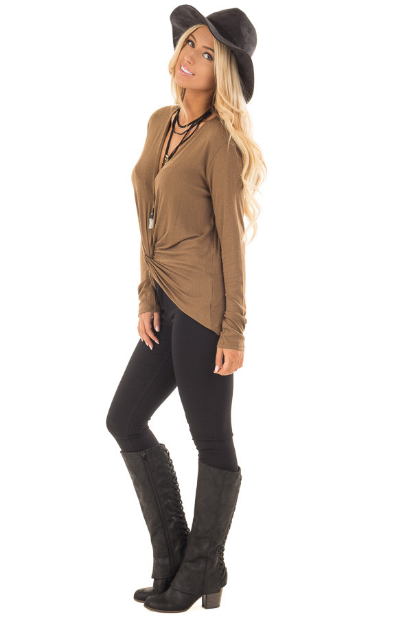 Dusty Olive Deep V Neck Top with Front Twist Detail side full body