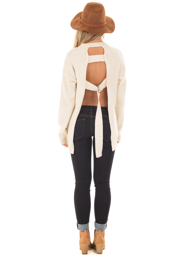 Cream Open Back Sweater with Cut Out V Neck back full body