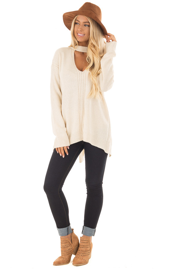 Cream Open Back Sweater with Cut Out V Neck front full body