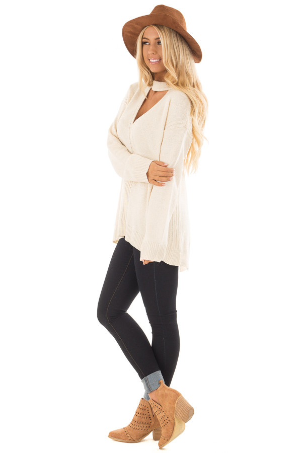 Cream Open Back Sweater with Cut Out V Neck side full body