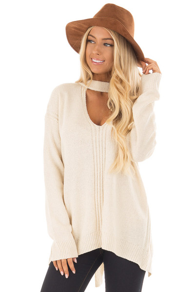 Cream Open Back Sweater with Cut Out V Neck front close up