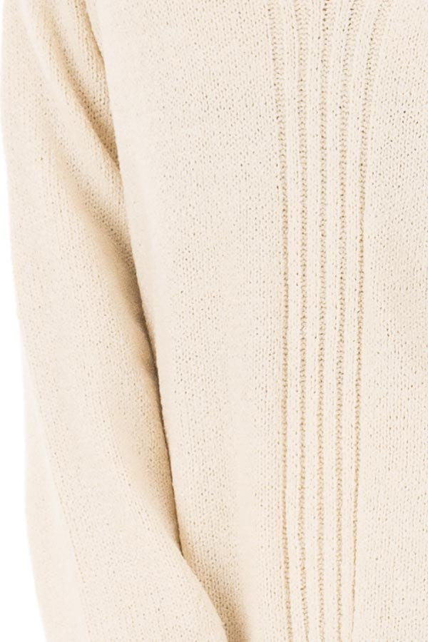 Cream Open Back Sweater with Cut Out V Neck detail