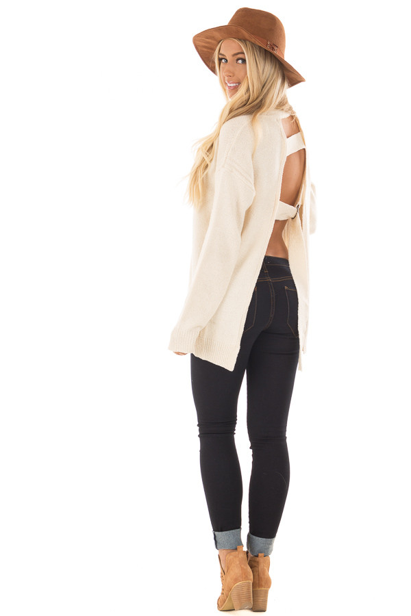 Cream Open Back Sweater with Cut Out V Neck back side full body