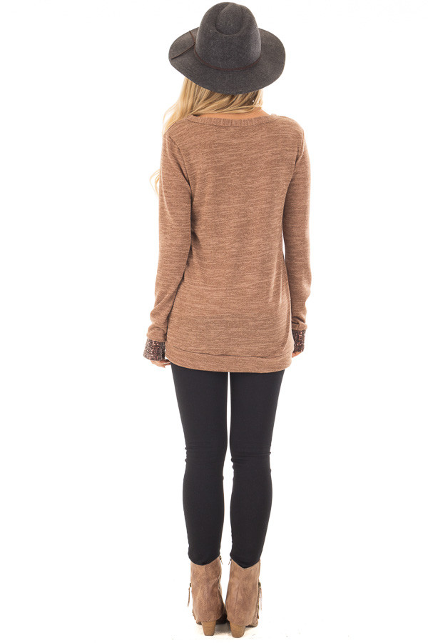 Mocha Two Tone Knit Sweater with Sequin Pocket and Cuffs back full body
