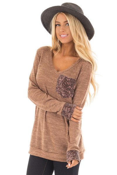 Mocha Two Tone Knit Sweater with Sequin Pocket and Cuffs front close up