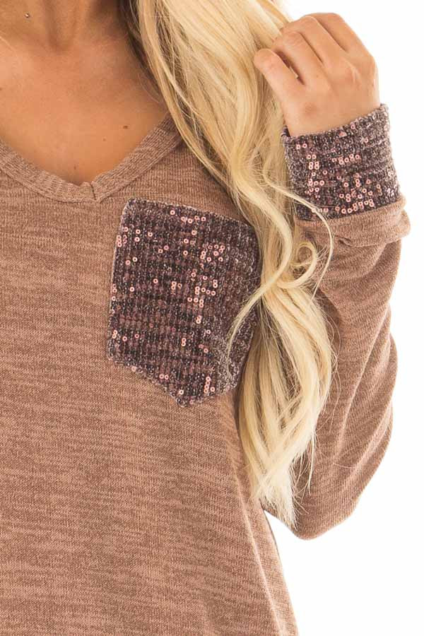 Mocha Two Tone Knit Sweater with Sequin Pocket and Cuffs detail