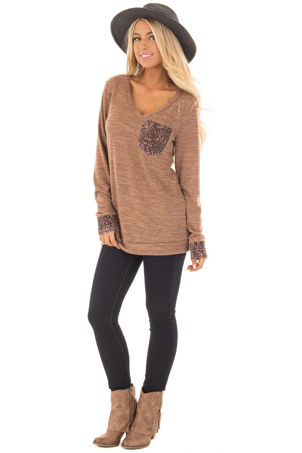 Mocha Two Tone Knit Sweater with Sequin Pocket and Cuffs front full body