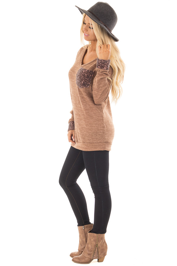 Mocha Two Tone Knit Sweater with Sequin Pocket and Cuffs side full body