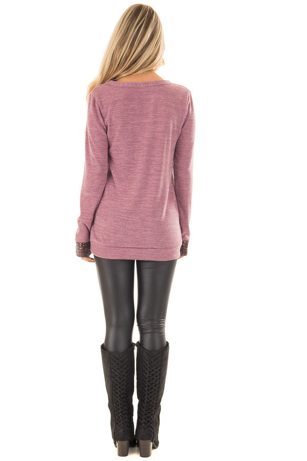 Mauve Two Tone Knit Sweater with Sequin Pocket and Cuffs back full body