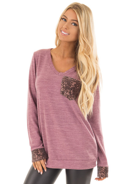 Mauve Two Tone Knit Sweater with Sequin Pocket and Cuffs front close up