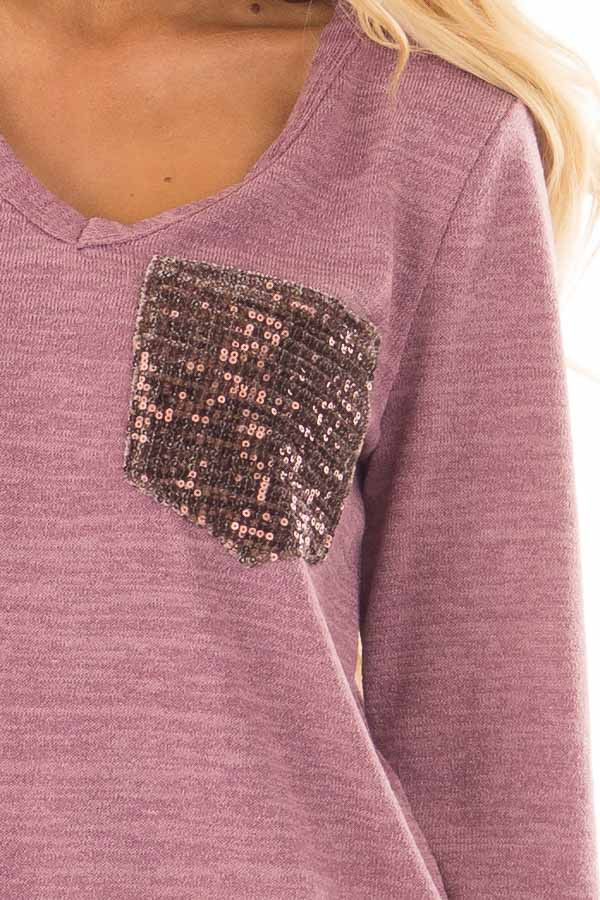 Mauve Two Tone Knit Sweater with Sequin Pocket and Cuffs detail