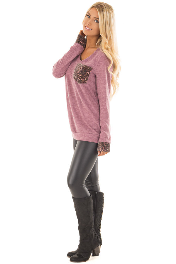 Mauve Two Tone Knit Sweater with Sequin Pocket and Cuffs side full body