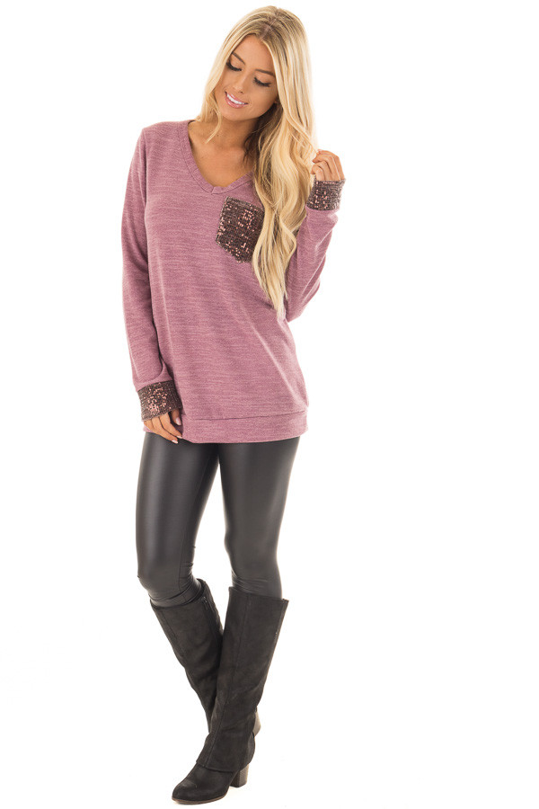 Mauve Two Tone Knit Sweater with Sequin Pocket and Cuffs front full body