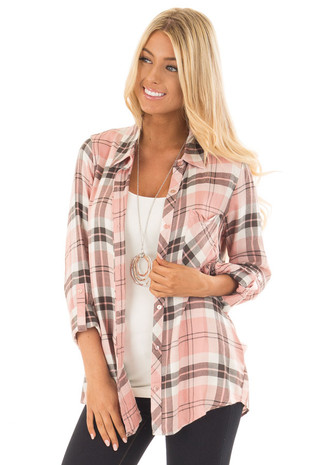 Blush and Charcoal Plaid Soft Button Down Shirt front close up