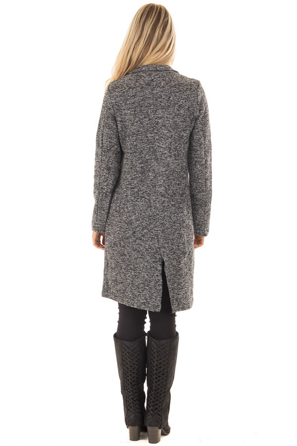 Charcoal Two Tone Long Coat with Pockets back full body