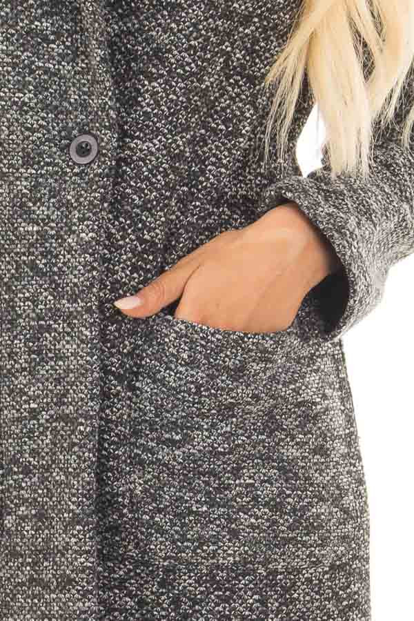 Charcoal Two Tone Long Coat with Pockets detail