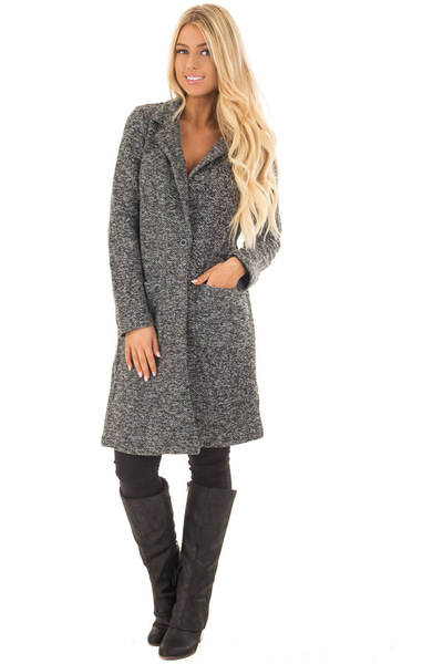 Charcoal Two Tone Long Coat with Pockets front full body