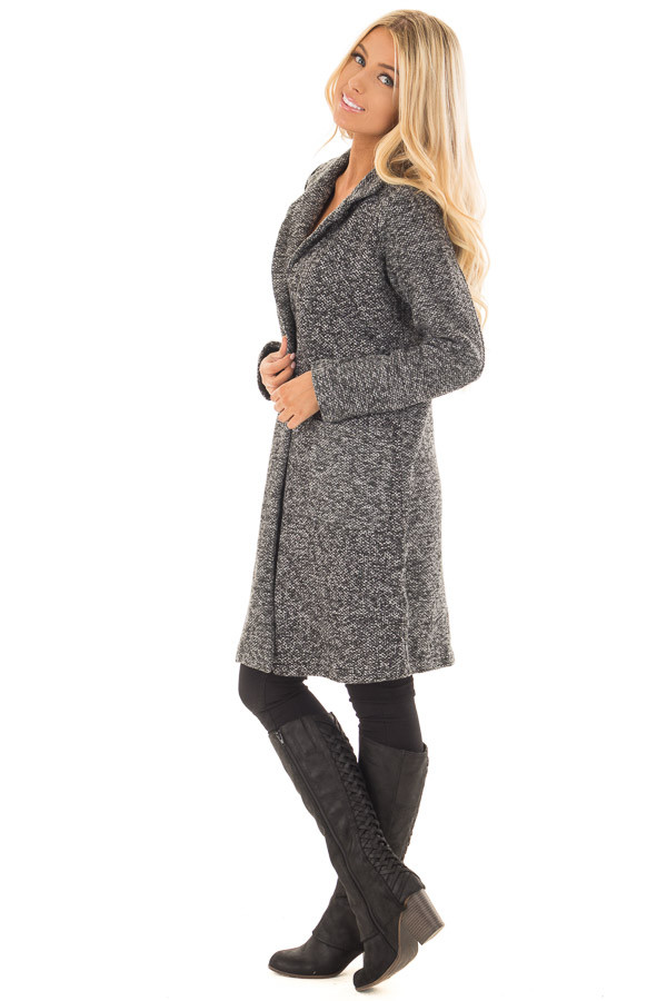 Charcoal Two Tone Long Coat with Pockets side full body