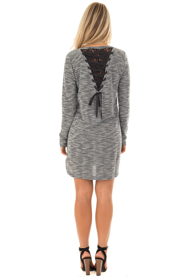 Charcoal Two Tone Dress with Lace Up Back Detail back full body