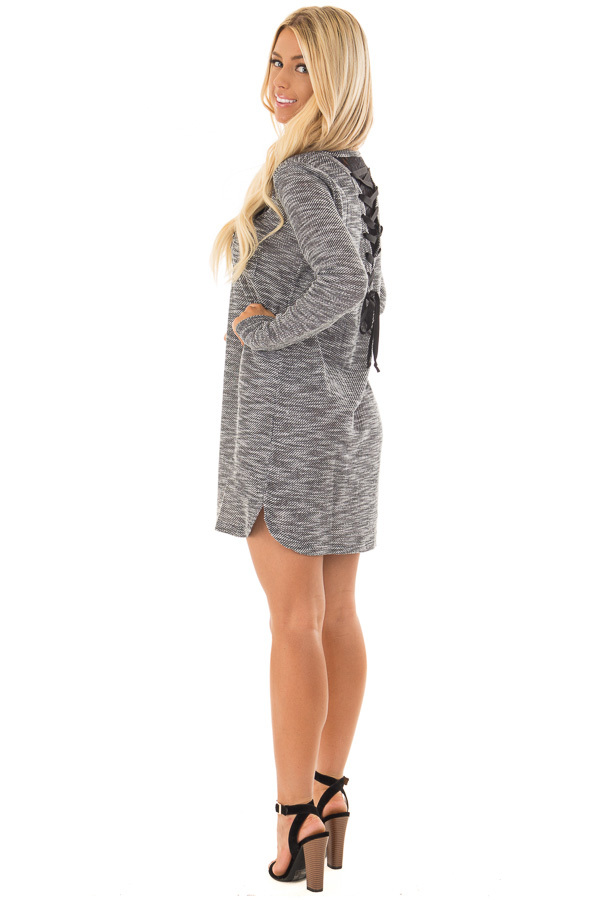 Charcoal Two Tone Dress with Lace Up Back Detail back side full body