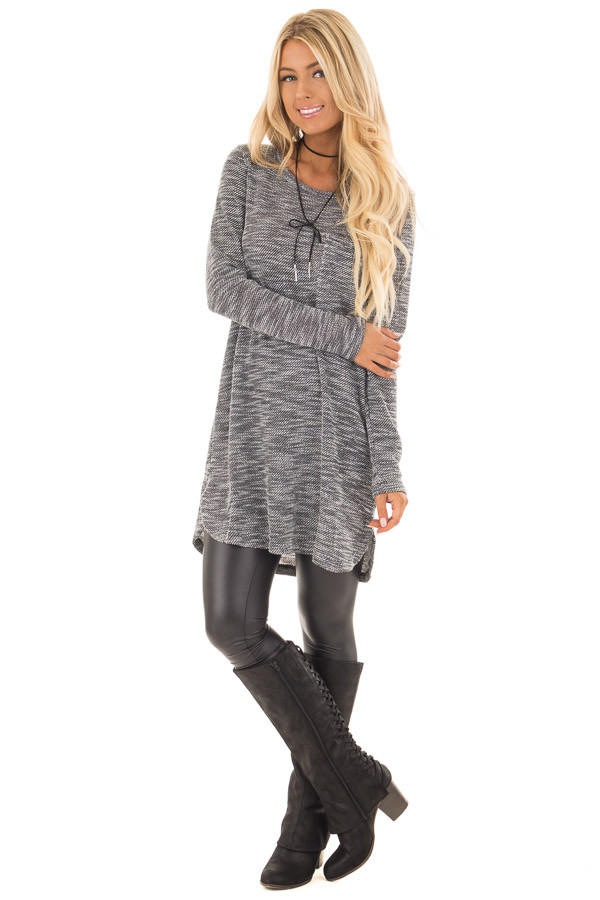 Charcoal Two Tone Dress with Lace Up Back Detail front full body
