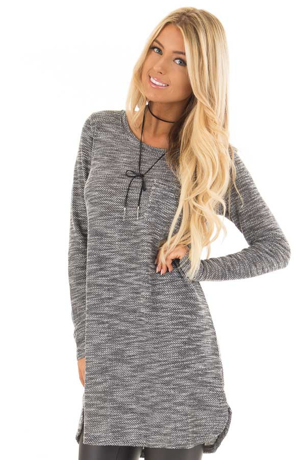 Charcoal Two Tone Dress with Lace Up Back Detail front close up