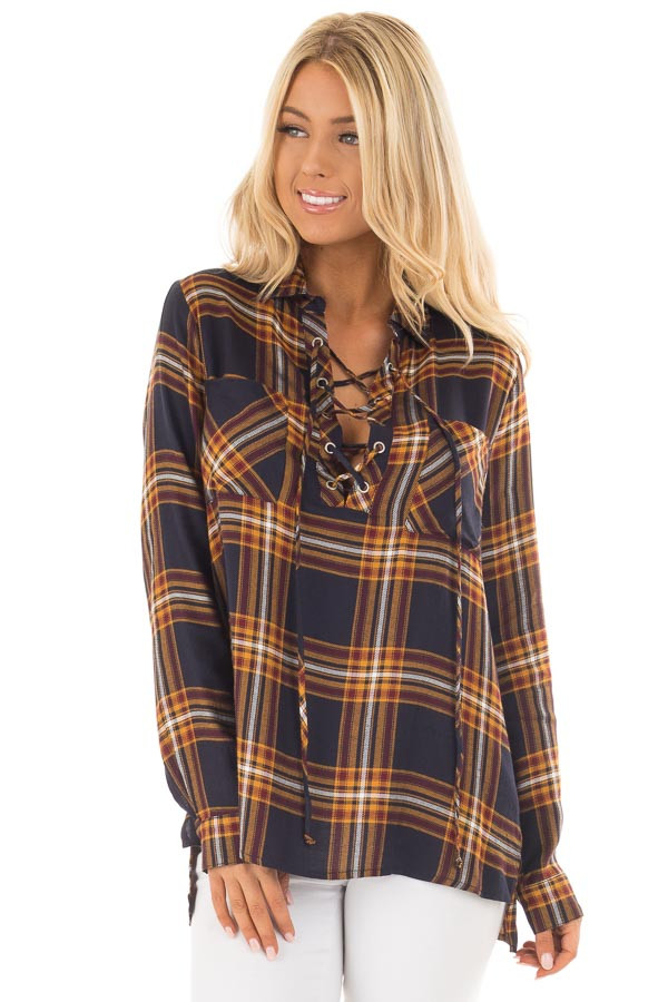 Navy and Mustard Plaid Lace Up Long Sleeve Shirt front close up
