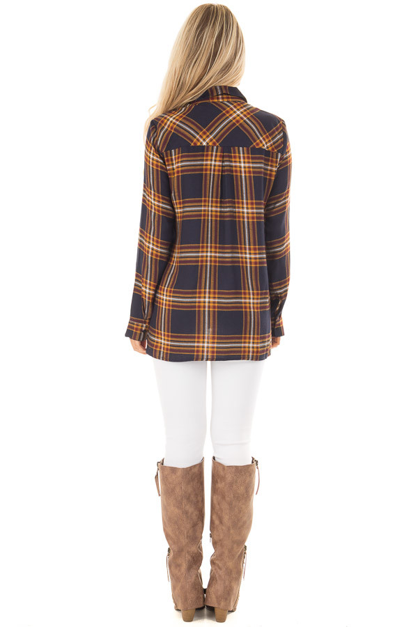 Navy and Mustard Plaid Lace Up Long Sleeve Shirt back full body