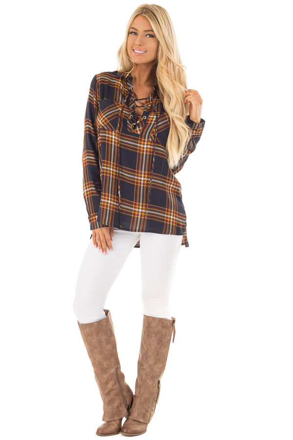 Navy and Mustard Plaid Lace Up Long Sleeve Shirt front full body