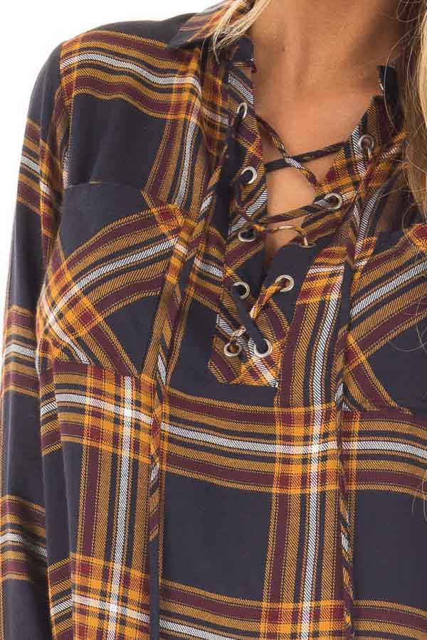 Navy and Mustard Plaid Lace Up Long Sleeve Shirt detail