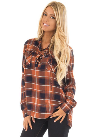 Rust and Navy Plaid Lace Up Long Sleeve Shirt front close up