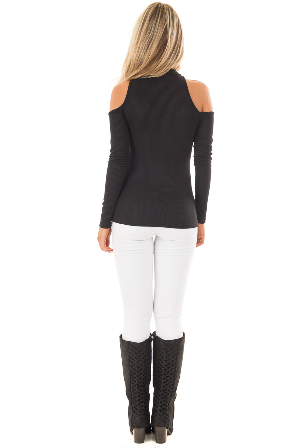 Black Ribbed Top with Unique Cold Shoulder Cut Outs back full body