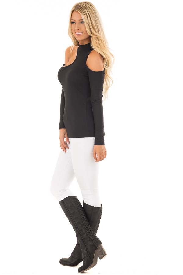 Black Ribbed Top with Unique Cold Shoulder Cut Outs side full body