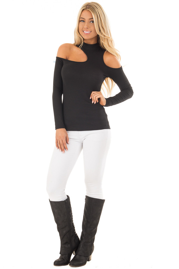 Black Ribbed Top with Unique Cold Shoulder Cut Outs front full body