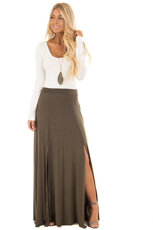 Olive Jersey Knit Maxi Skirt with Double Front Slits front full body