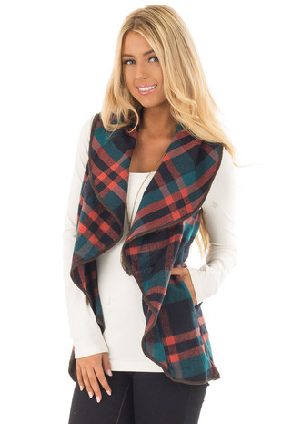 Teal and Rust Orange Plaid Vest with Faux Leather Trim front close up
