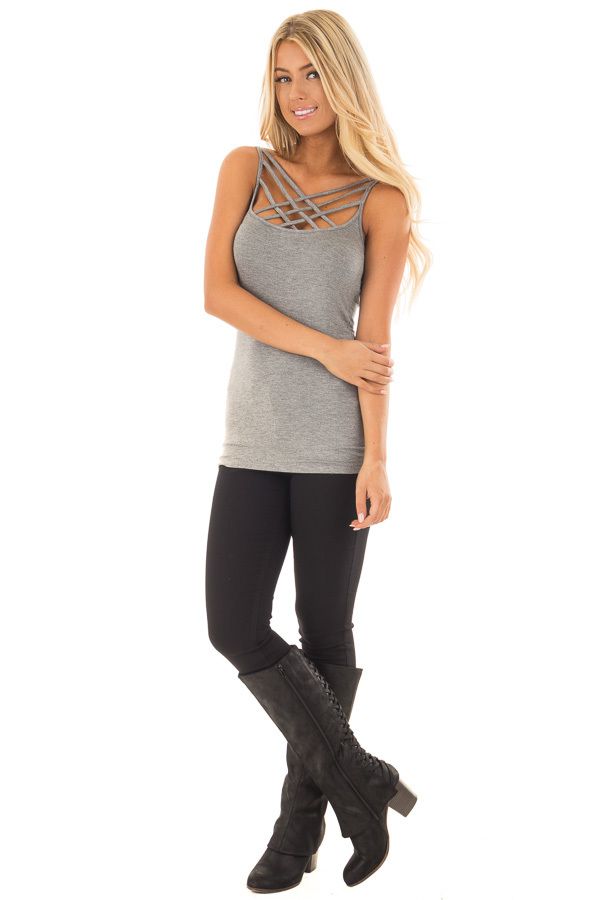Heather Grey Reversible Criss Cross Tank Top front full body