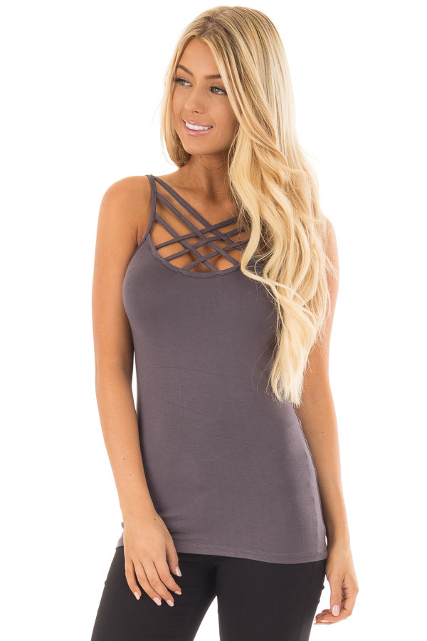 Charcoal Reversible Criss Cross Tank Top front close up