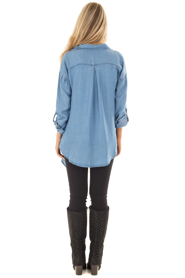 Denim Lightweight Draped Cardigan with Roll Up Sleeves back full body