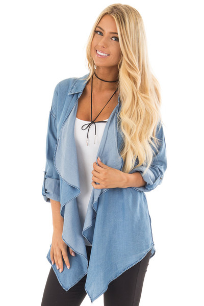 Denim Lightweight Draped Cardigan with Roll Up Sleeves front close up