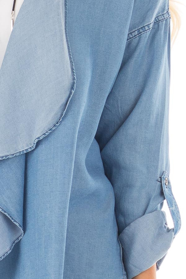 Denim Lightweight Draped Cardigan with Roll Up Sleeves detail