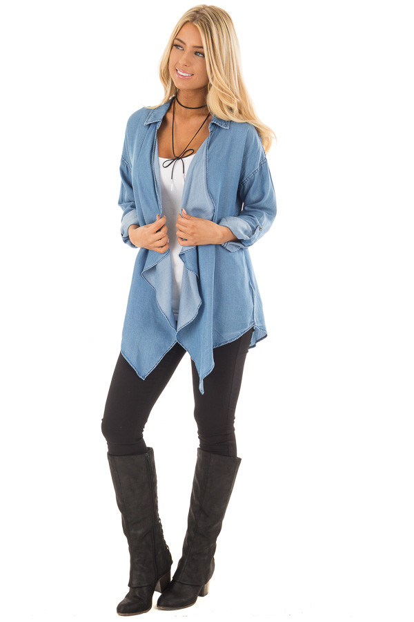 Denim Lightweight Draped Cardigan with Roll Up Sleeves front full body