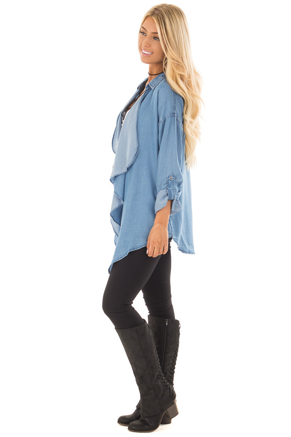 Denim Lightweight Draped Cardigan with Roll Up Sleeves side full body