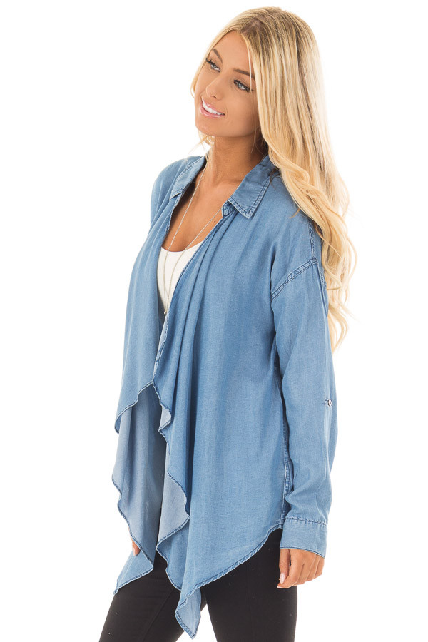 Denim Lightweight Draped Cardigan with Roll Up Sleeves side close up