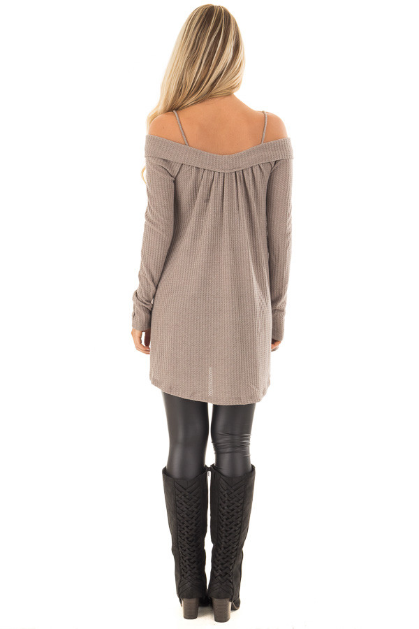 Mocha Waffle Knit Criss Cross Top with Bare Shoulders back full body