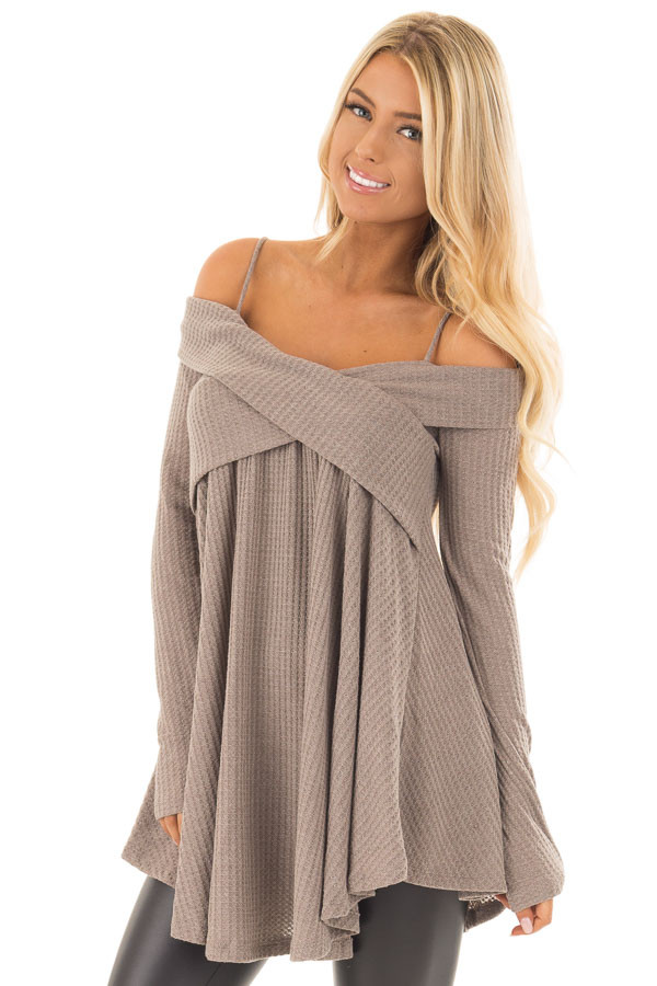 Mocha Waffle Knit Criss Cross Top with Bare Shoulders front close up