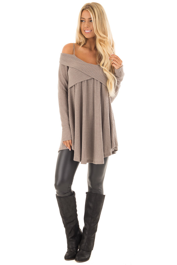 Mocha Waffle Knit Criss Cross Top with Bare Shoulders front full body