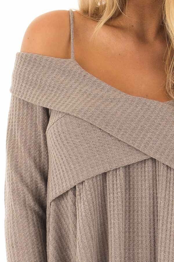 Mocha Waffle Knit Criss Cross Top with Bare Shoulders detail