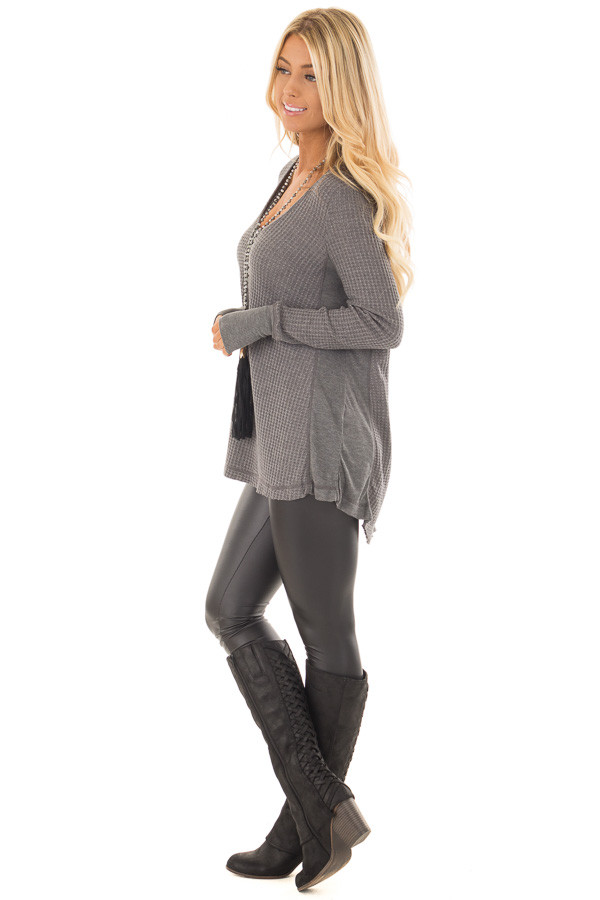 Charcoal Hi-Low Waffle Textured Long Sleeve Top side full body